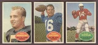 1960 Topps Football #54 Paul Hornung #74 Frank Gifford & #113 YA