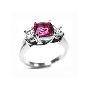 14k Solid Gold Cushon Cut Pink Tourmaline Diamond Ring (1