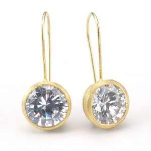 Carre Cubic Zirconia Drop Earrings 18K Gold Clad Betty Carre