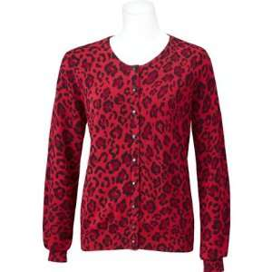 EP Pro Womens Longsleeve Leopard Print Cardigan( COLOR Red, WOMENS