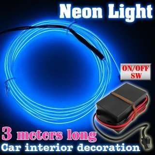 Light Glow EL Wire Rope Car Party Strip Driver 3m 12v Tube Blue