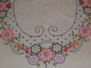 Antique Hand Embroidery Applique Spring FLORAL Seersucker Bedspread