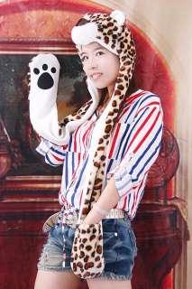 Cartoon Animal Leopard Fluffy Cap Scarf Gloves H2709