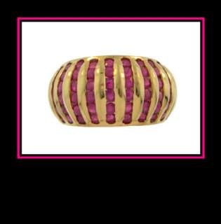 14K Solid Yellow Gold Natural Ruby Fashion Dinner Ring