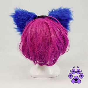 KITTY cat TAIL EARS COMBO cosplay cYbEr Goth Anime Hat furry HEADBAND