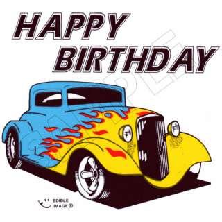 Birthday Hot Rod Edible Cake Topper Decor Image