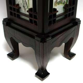 Wood Shade Asian Oriental House Lantern Bedside Dragon Art Deco Table