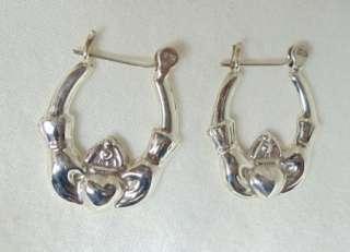 Sterling Silver Claddagh Clip Back Hoop Earrings e16
