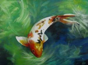 Original KOI Painting a Day by CES   Fish POND Water EBSQ Art ABSTRACT