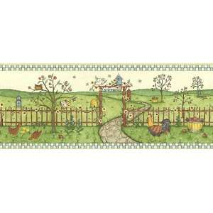 Roosters and Apples Wallpaper Border in Border Resource
