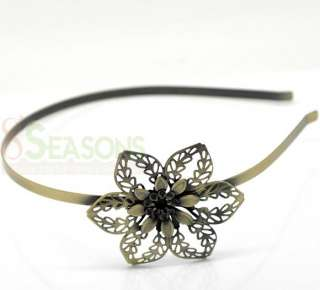 Bronze Tone Flower Headbands Hair Band 39cm 5mm wide