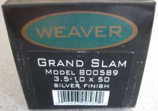 BRAND NEW Weaver Grand Slam 3.5 10x50 Rifle Scope 800589 SILVER Dual X