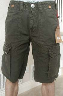 cargo shorts in Army. 100% cotton. Style# MAR841K33. Retail $154
