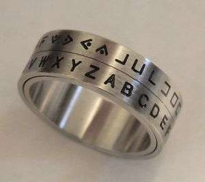 Secret Decoder Ring   Pig Pen Cipher Spinner Ring Silver