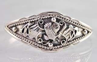 Navajo Harry Yazzie Sterling Silver Eagle Cuff Bracelet