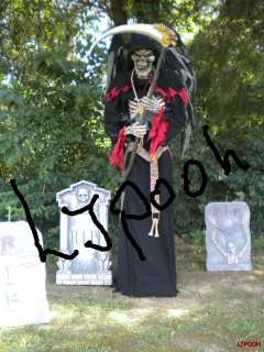 LIFESIZE ANIMATED DEATH REAPER w WINGS HALLOWEEN PROP