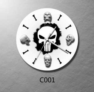 collectible skull w/bone pirate wall clock art |