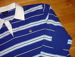 BROTHERS RUGBY SHIRT BLUE STRIPED LOGO ELBOW PATCHES MENS M SHARP
