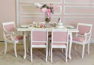 Shabby Cottage Chic White Dining Table Oval French Roses Seats 6