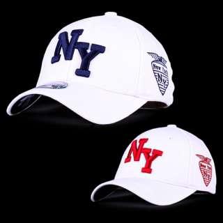 White New York NY Baseball Cap Flexfit Original Spandex Men Women Golf
