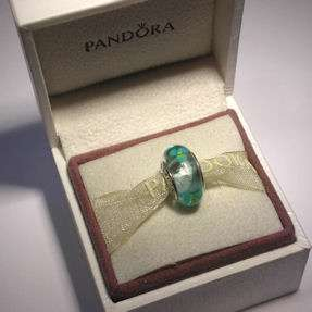 AUTHENTIC PANDORA Sterling Silver and Teal Murano Glass FLOWERS