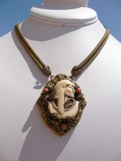 Vintage Egyptian Revival ART DECO Coral Pharoh NECKLACE Selro