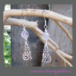 Cornerstoregoddess Crystal Pewter Kitty Cat Earrings
