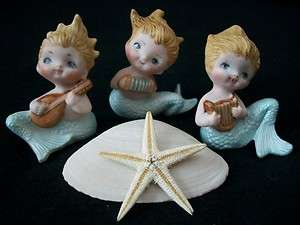 MUSICAL MERMAID PIXIE GIRL BISQUE DOLL FIGURINES G/W FISH & SEAHORSES