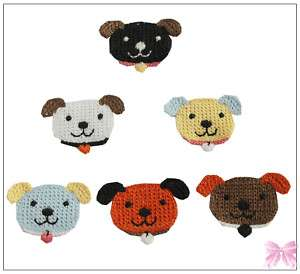 6PCS crochet cute puppy dog Applique/Scrap/flatback/bow
