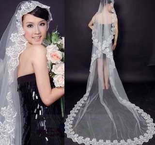 Layer White/Ivory Wedding Bridal Dress Tiara Veil Scarf/Shawl