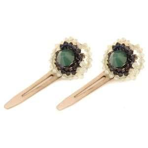 , Indigo and Jonquil Twists of Swarovski Crystal Hair Clips Jewelry
