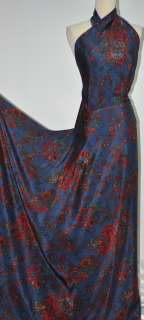 New Crepe Silk Fabric Paisley Floral Purple Blue 45