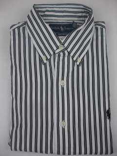 Polo Ralph Lauren Mens Sport Shirt Button Down Custom Fit White Black