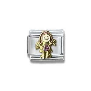February Amethyst Czech Crystal & Gold Little Girl Birthstone Italian