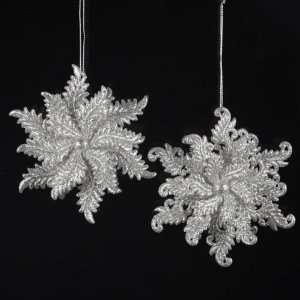 Pack of 24 Silver Glitter Elegant Winter Snowflake Christmas Ornaments