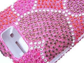 HEARTS PINK BLING DIAMOND CASE COVER SAMSUNG EXCLAIM