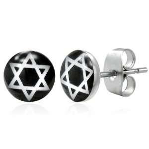 Stainless Steel Black White Star of David Circle Pair of Stud Earrings