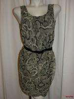 NWT MNG by MANGO Beige Brown Black Snakeskin Print Slv less Dress 10