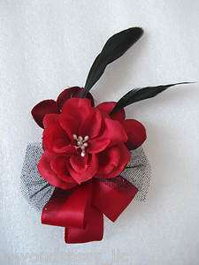 Christmas Holiday Red Rose Flower Black Feather Fascinator Hair Bow