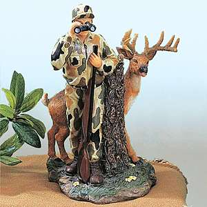 Funny Hunting Lodge Deer hiding behind hunter BINOCULARS Statue Decor