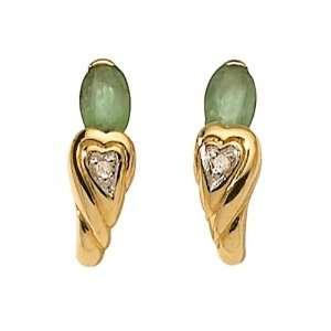 18ct Yellow Gold Emerald & Diamond Earrings Jewelry