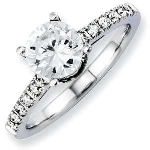 14K White Gold Diamond Semi Mount 1.00ct. Center Stone Ring Diamond