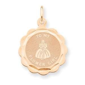 14k Rose Gold Flower Girl Disc Charm [Jewelry]