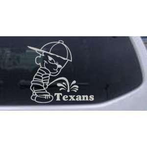 Pee on Texans Car Window Wall Laptop Decal Sticker    Silver 10in X 9