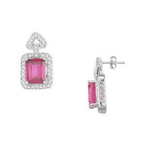 .90ct Pink Sapphire Earrings in 14K White Gold VIJAY BHATIA Jewelry