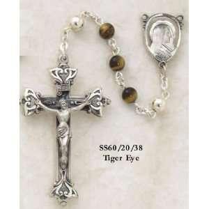 Sterling Silver Rosary, 6mm Semi Precious Tiger Eye W/ Medona Center