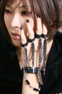 Gothic Punk Visual Kei 5 Ring+Cuff Bullet Weapon Kusari