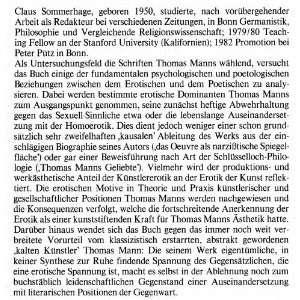 Eros und Poesis: Uber das Erotische im Werk Thomas Manns (Bonner