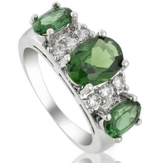 Green Emerald White 18K GOLD PLATED Lady Ring Fashion Jewelry Gift
