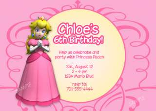 Princess Peach Invitation Mario Bros Birthday Party